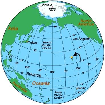 Гавайские острова на карте мира