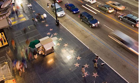 Аллея звезд в Голливуде, вид сверху