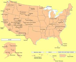 Национальные парки США карта